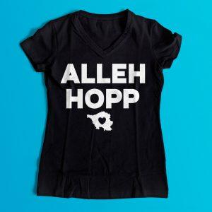 Saarländisches Wort Alleh Hopp auf schwarzen Shirt