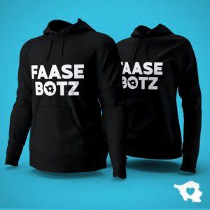 Saarländisches Wort Faasebotz auf zwei schwarzen Hoodies
