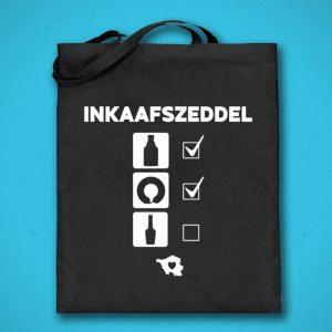 Saarländisches Wort Inkaafszeddel auf Jutebeutel